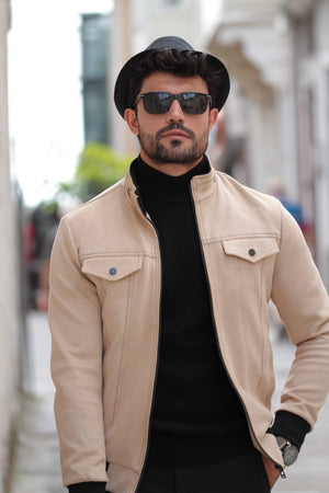Stone Slim-Fit Suade Leather Jacket