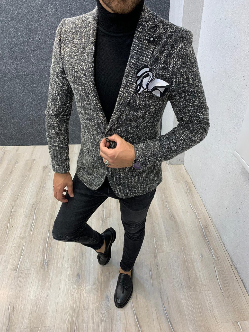 Ade Black Slim Fit Blazer