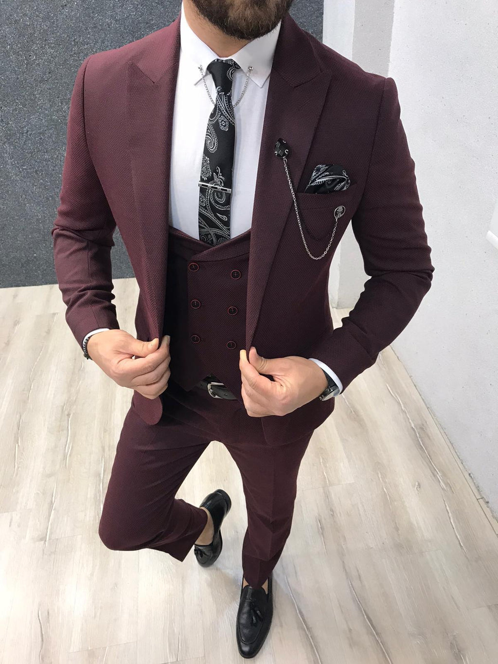 Wanker Claret Red Slim Fit Wool Suit
