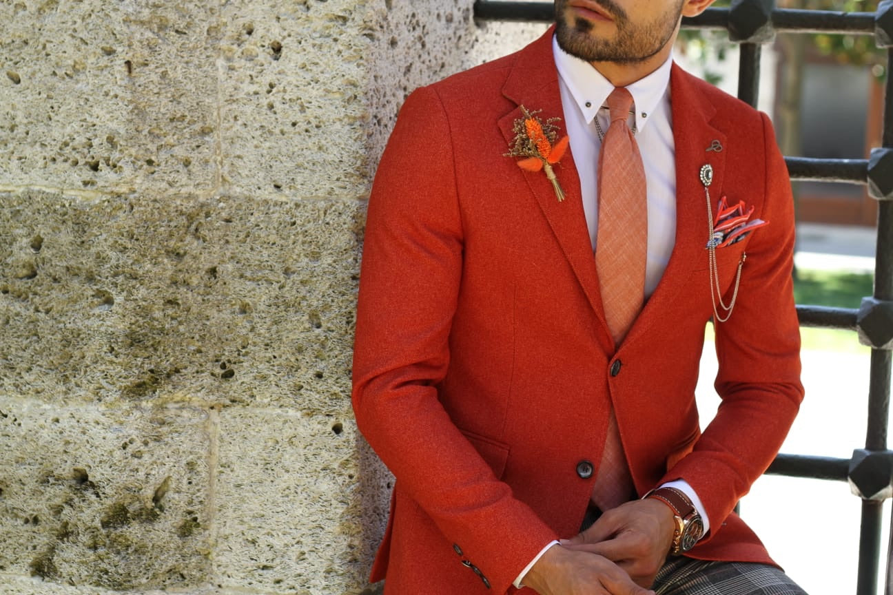 Marina Orange Slim Fit Blazer