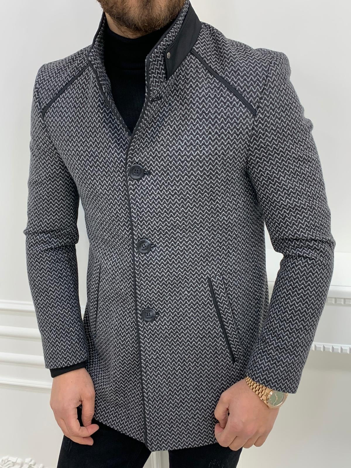 Owen Gray Slim Fit Wool Coat