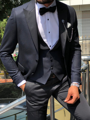 Apollo Dark Blue Slim-Fit Tuxed