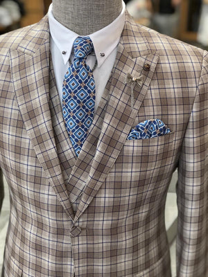 Valencia Brown Plaid Slim-Fit Suit