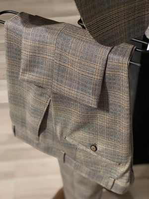 Adena Brown Plaid Slim Fit Suit
