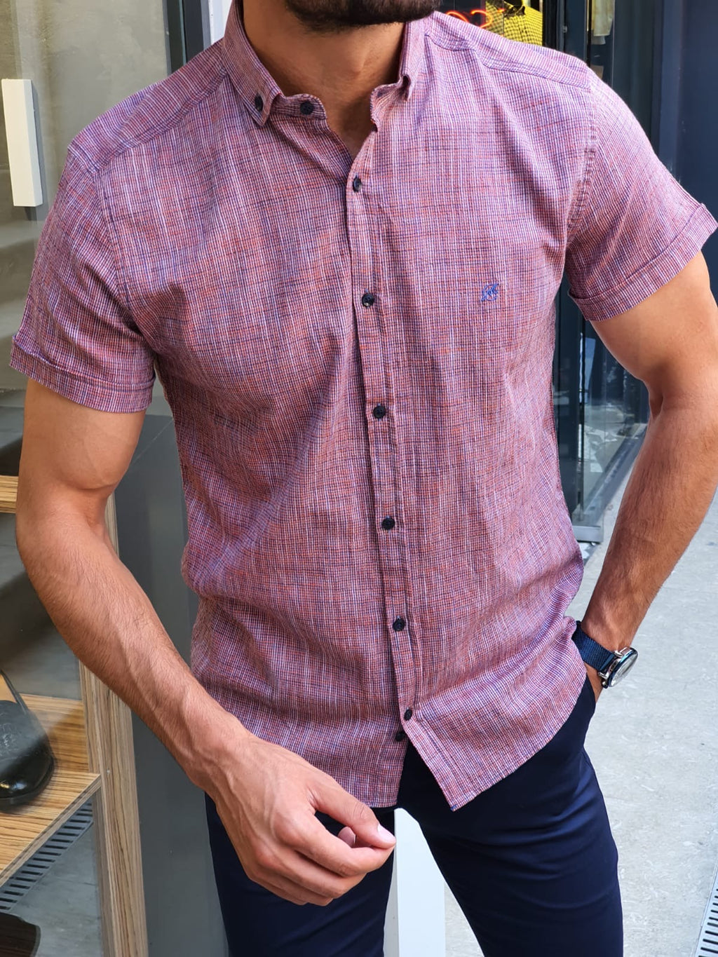 Madison Orange Slim Fit Short Sleeve Shirt