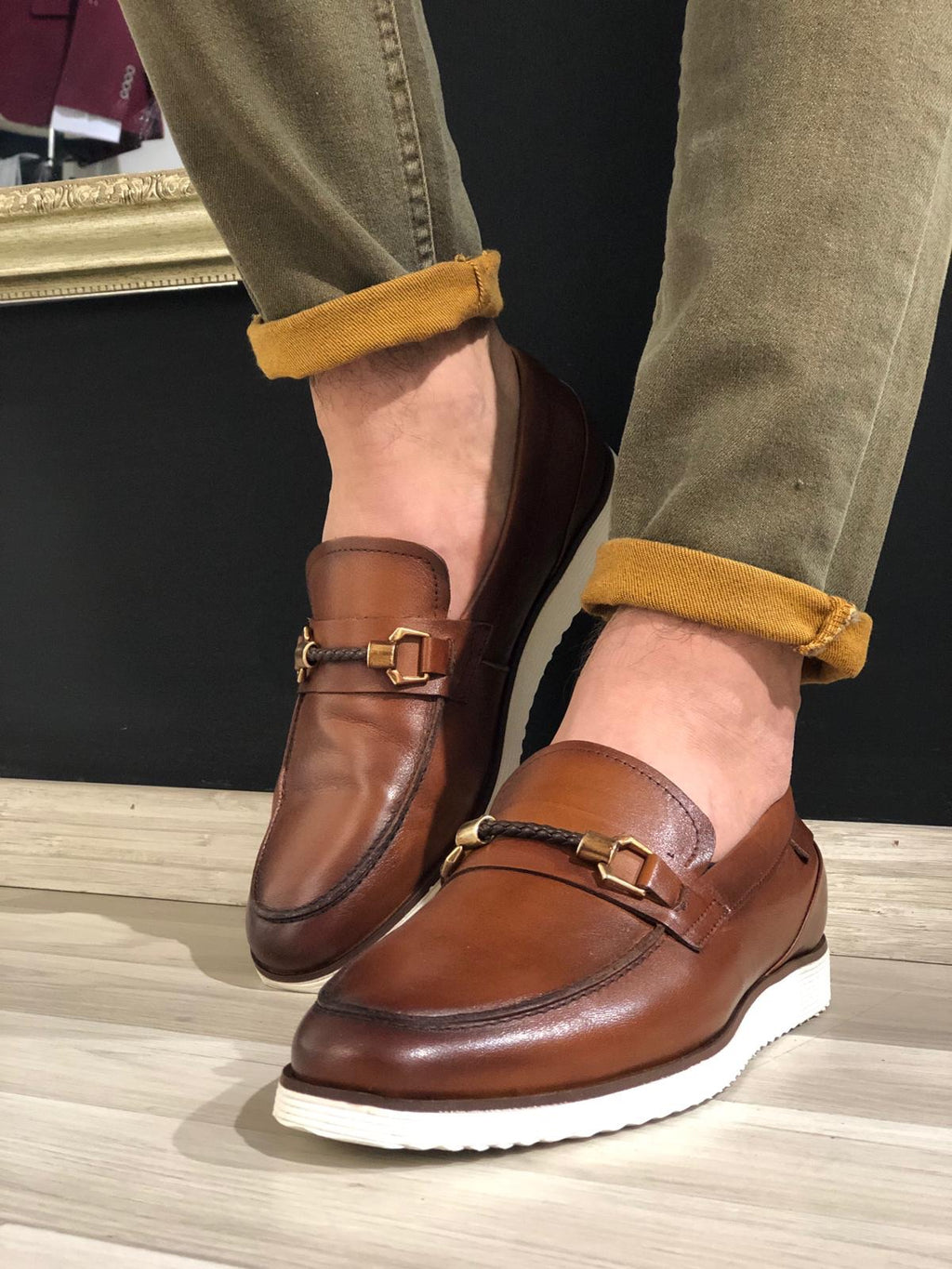 Heritage Buckle Detail Tan Loafers
