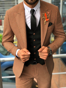 Austin Camel Patterned Slim-Fit Suit