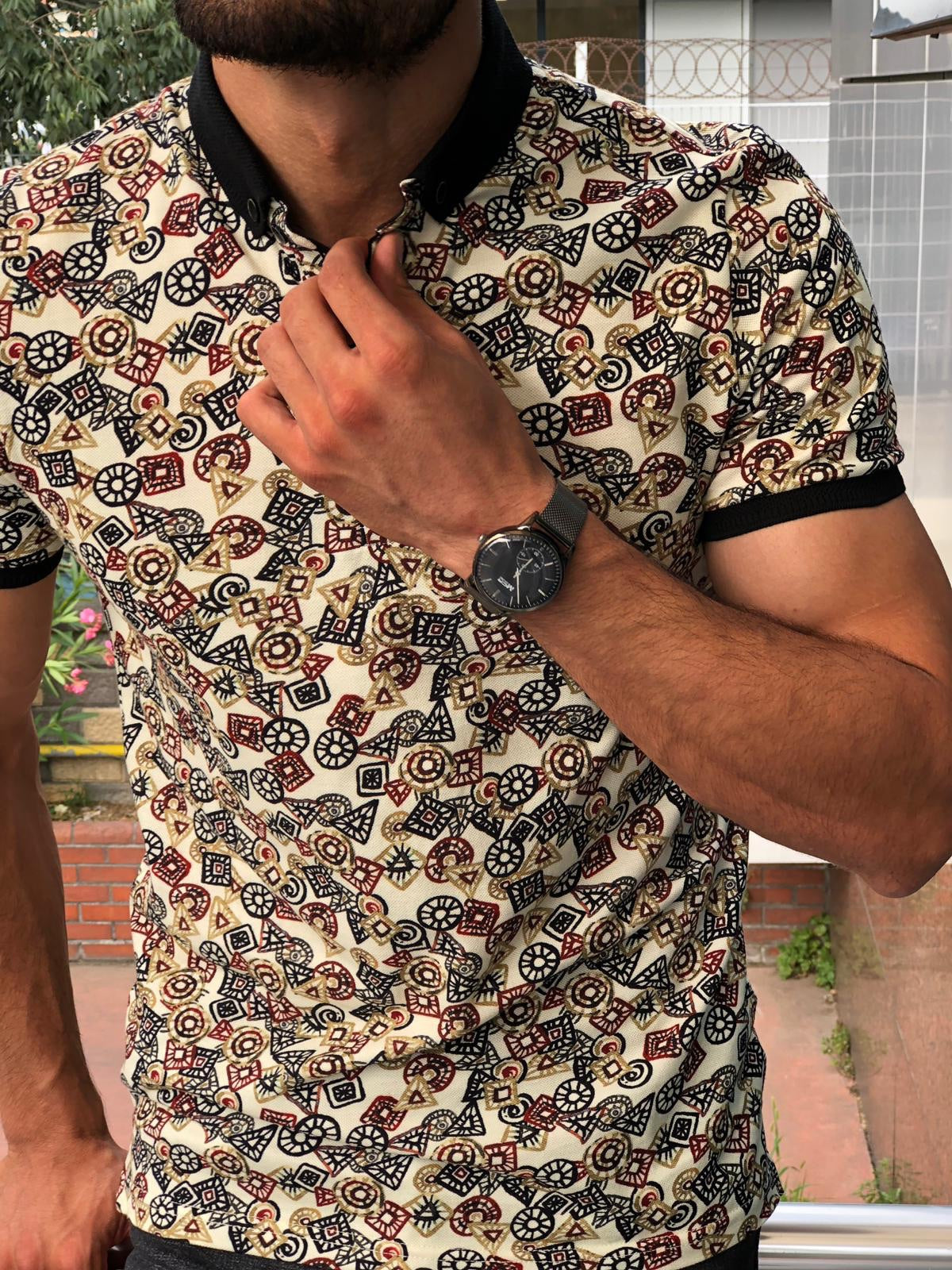 Beige Patterned Polo Shirt