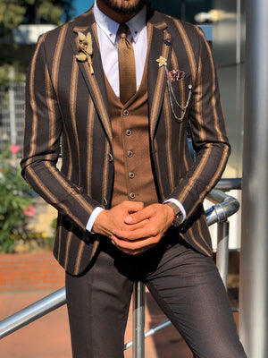 Eva Dark Blue Slim Fit Striped Suit