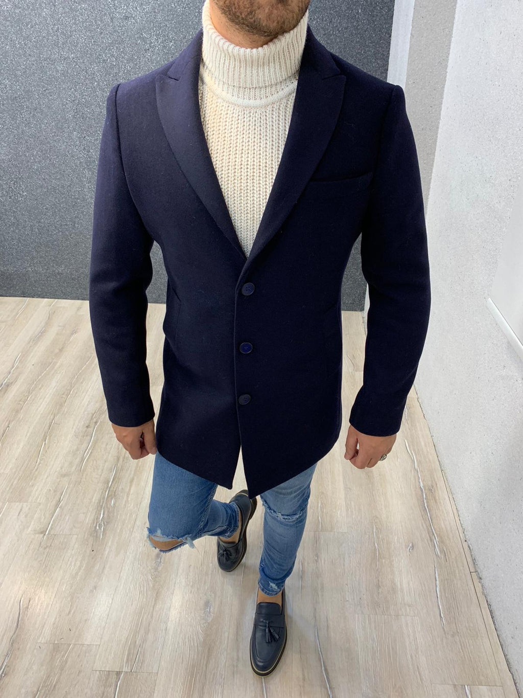 Ade Navy Blue Slim Fit Long Coat
