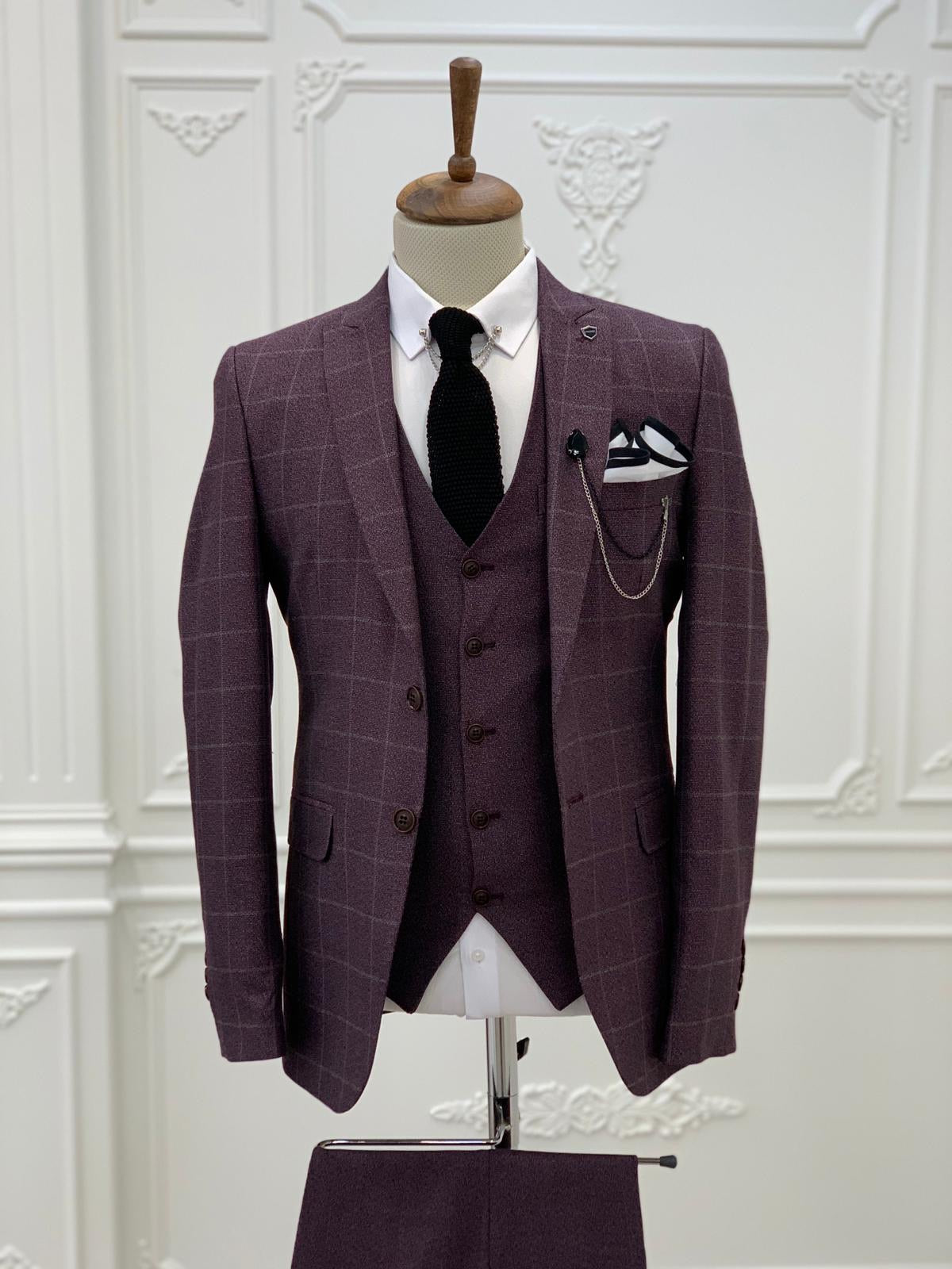 Austin Burgundy Slim Fit Plaid Suit
