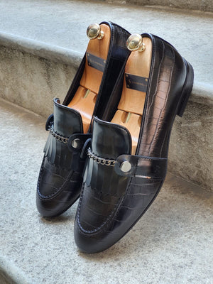Reno Black Kilt Loafers