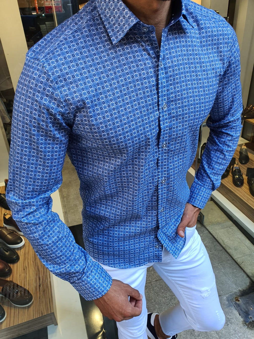 Henderson Indigo Slim Fit Patterned Shirt