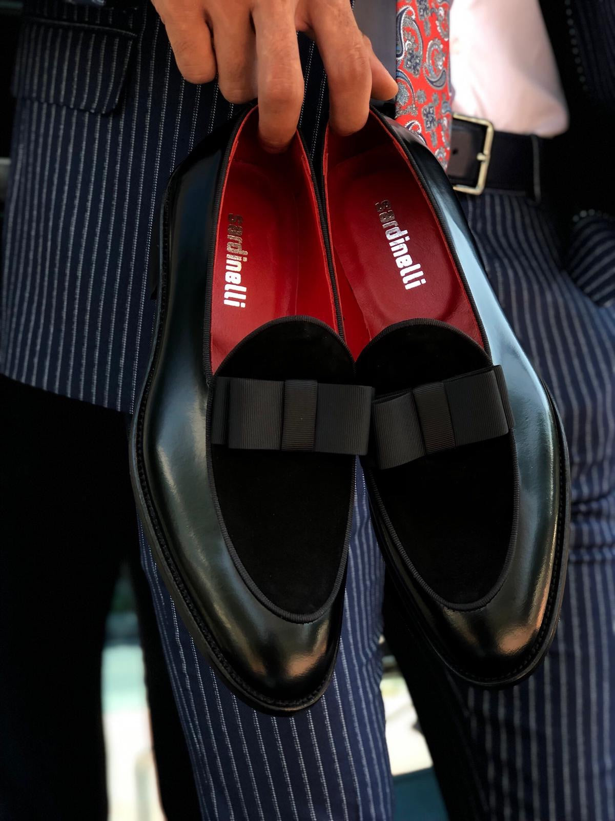 Polished Leather Sardinelli Loafers With Silk Bow