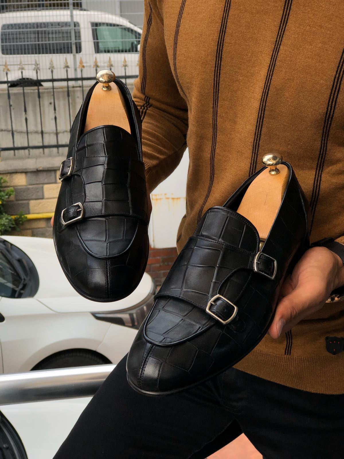 Aqua Black Double Monk Strap Loafer