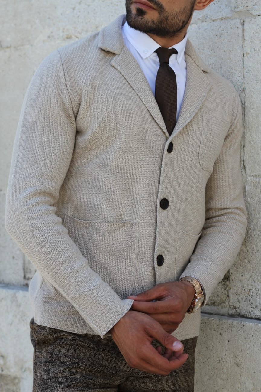 Percy Beige Slim Fit Knitwear Cardigan