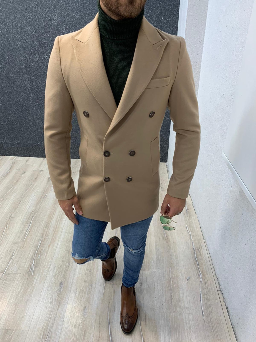 Ade Beige Slim Fit Long Coat