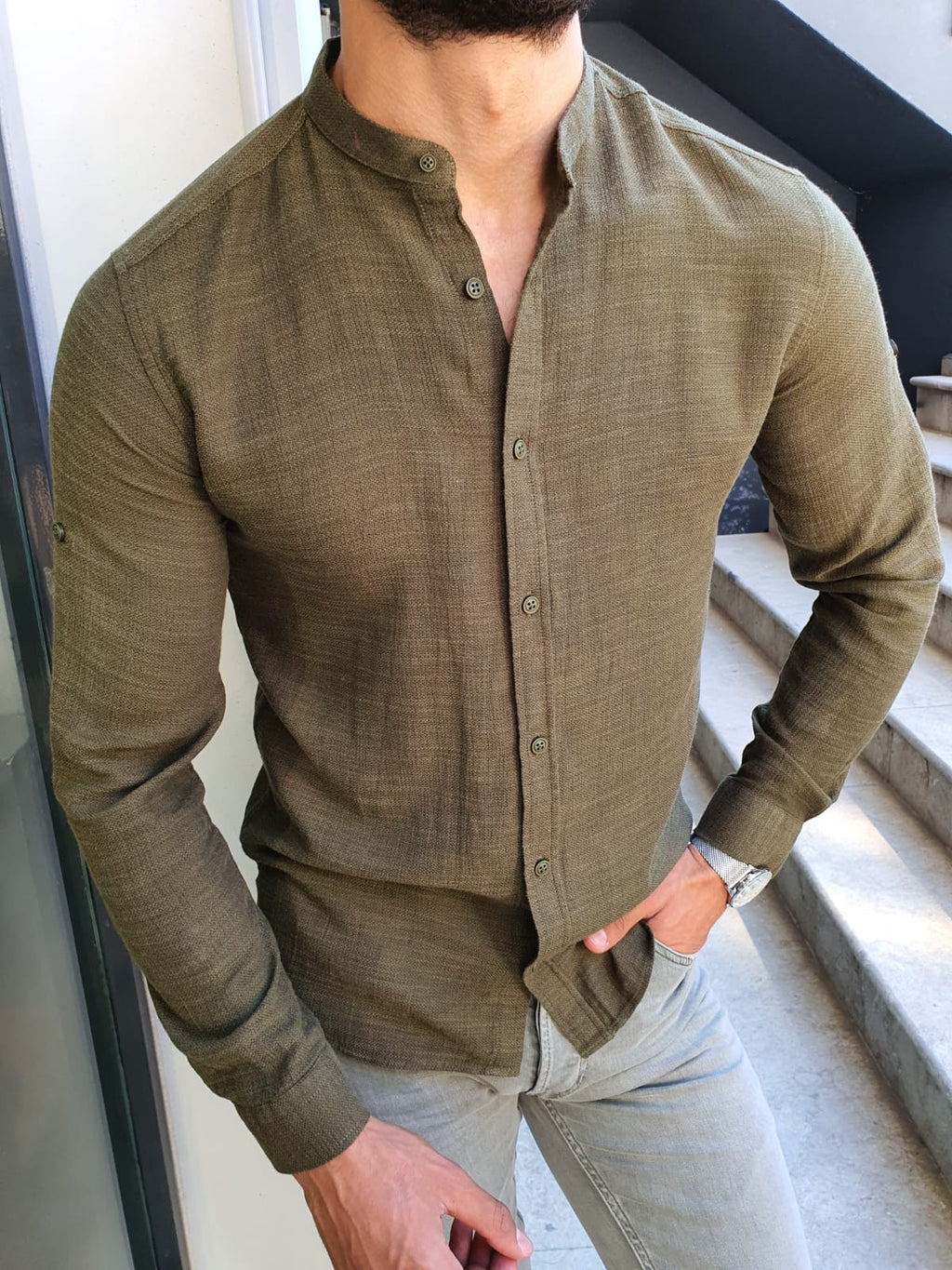 Madison Khaki Slim Fit Cotton Shirt