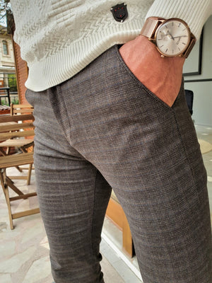 Henderson Brown Slim Fit Plaid Cotton Pants