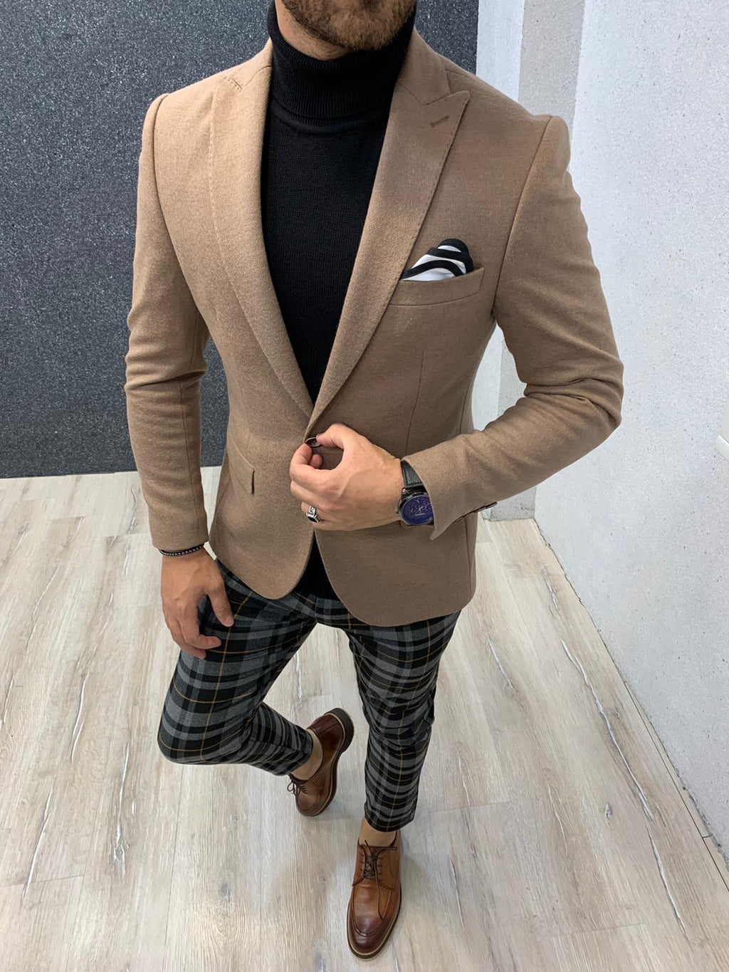Joe Beige Slim Fit Blazer