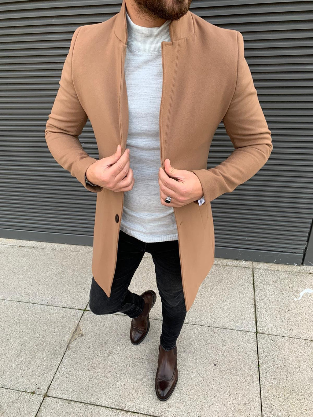 Kenzie Brown Slim Fit Wool Long Coat