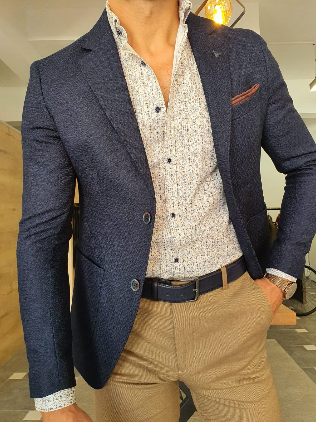 Torino Navy Blue Slim Fit Blazer