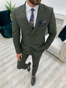 Milano Green Slim Fit Double Breasted Pinstripe Suit