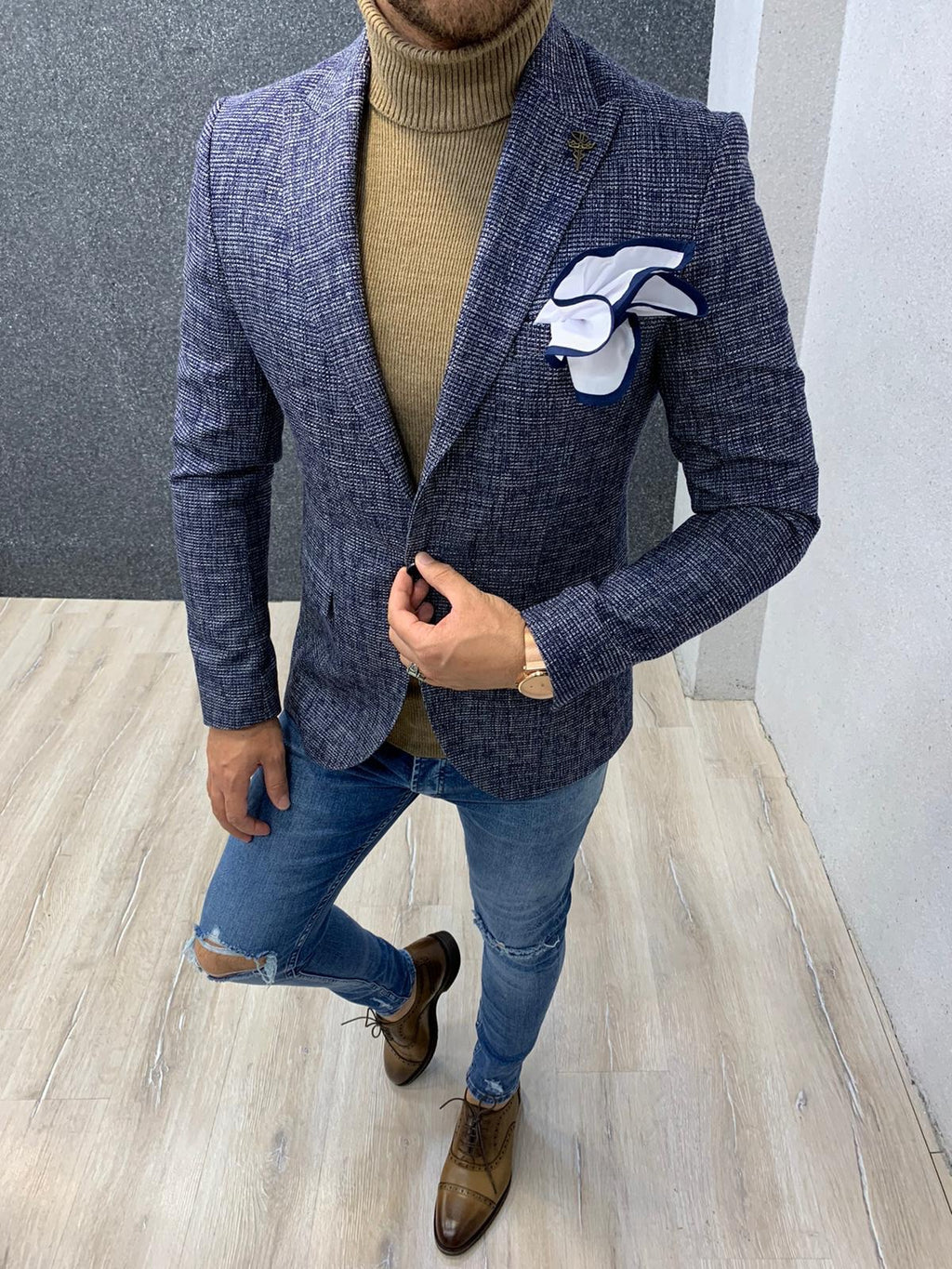 Joe Navy Blue Slim Fit Blazer