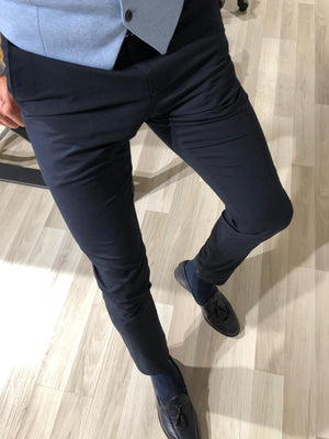Navy Blue Cotton Slim Pants