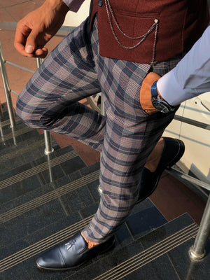 Adena Classic Navy Blue Slim Fit Plaid Pants