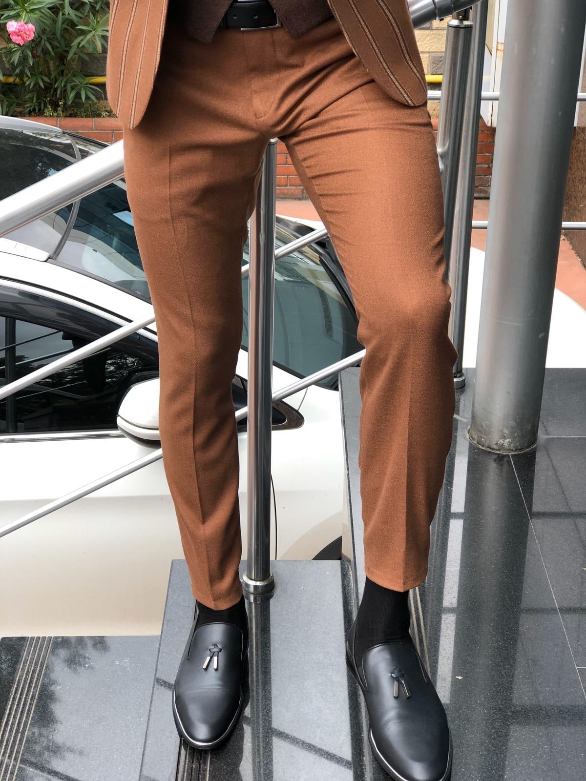 Calvin Striped Camel Slim-Fit Suit