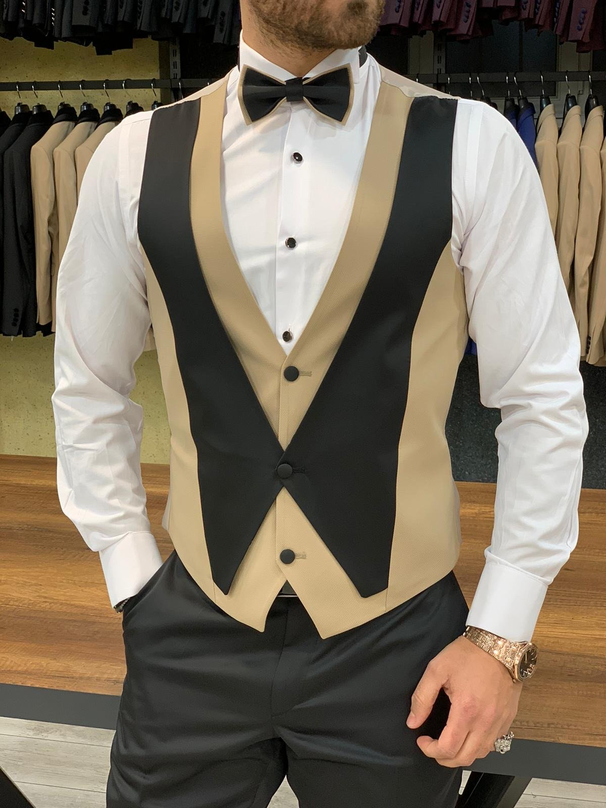 Owen Royal Slim Fit Gold Tuxedo