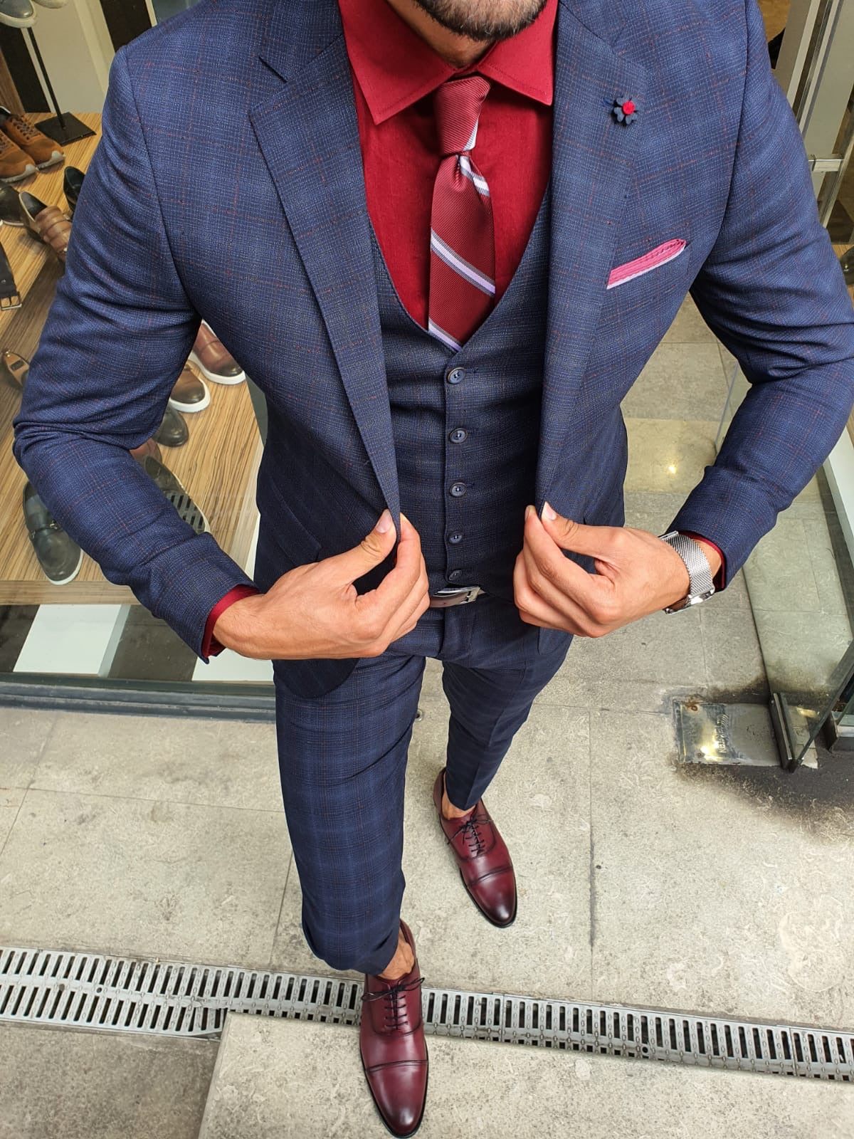 Orem Navy Blue Slim Fit Plaid Suit