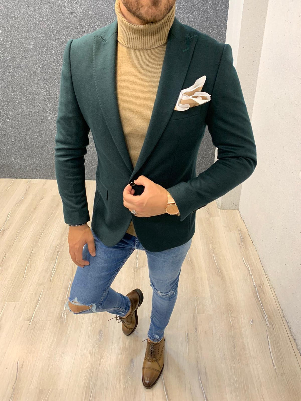 Sabeeqa Green Slim Fit Blazer