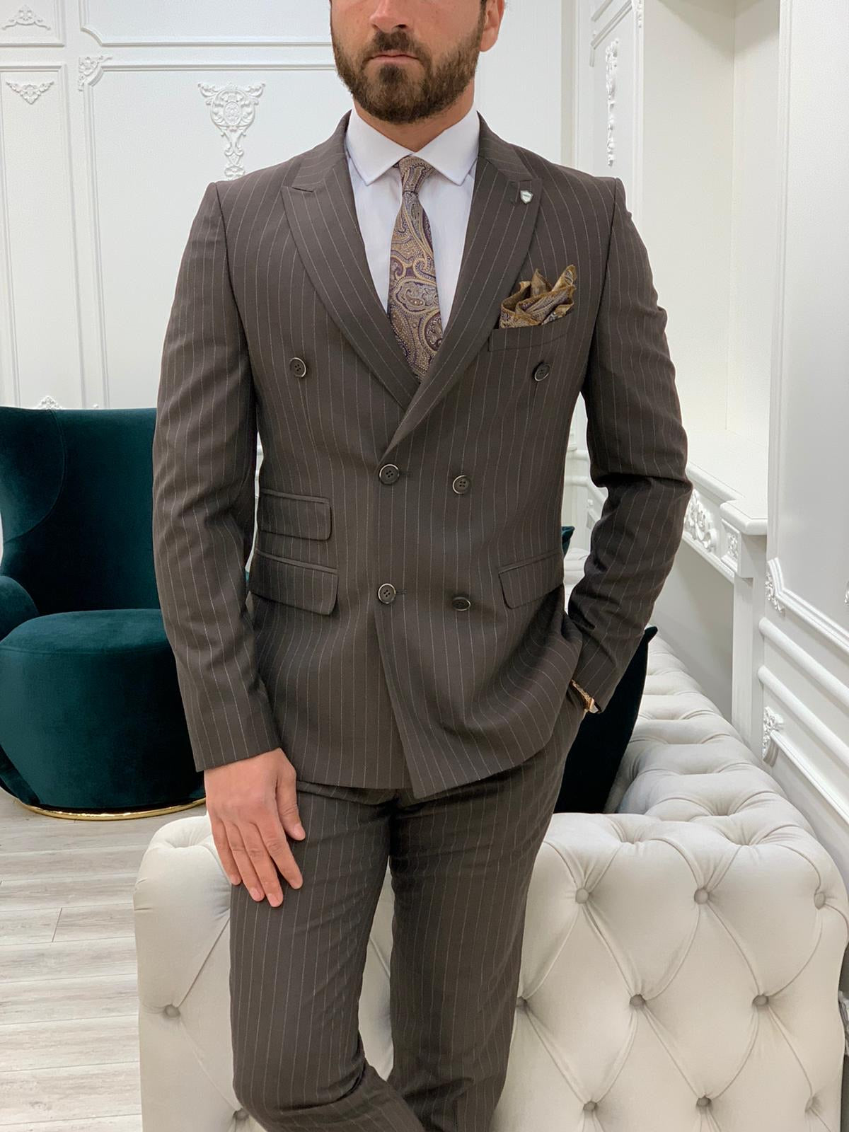 Milano Coffee Slim Fit Double Breasted Pinstripe Suit