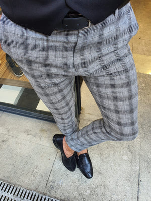 Bern Black Slim Fit Plaid Pants
