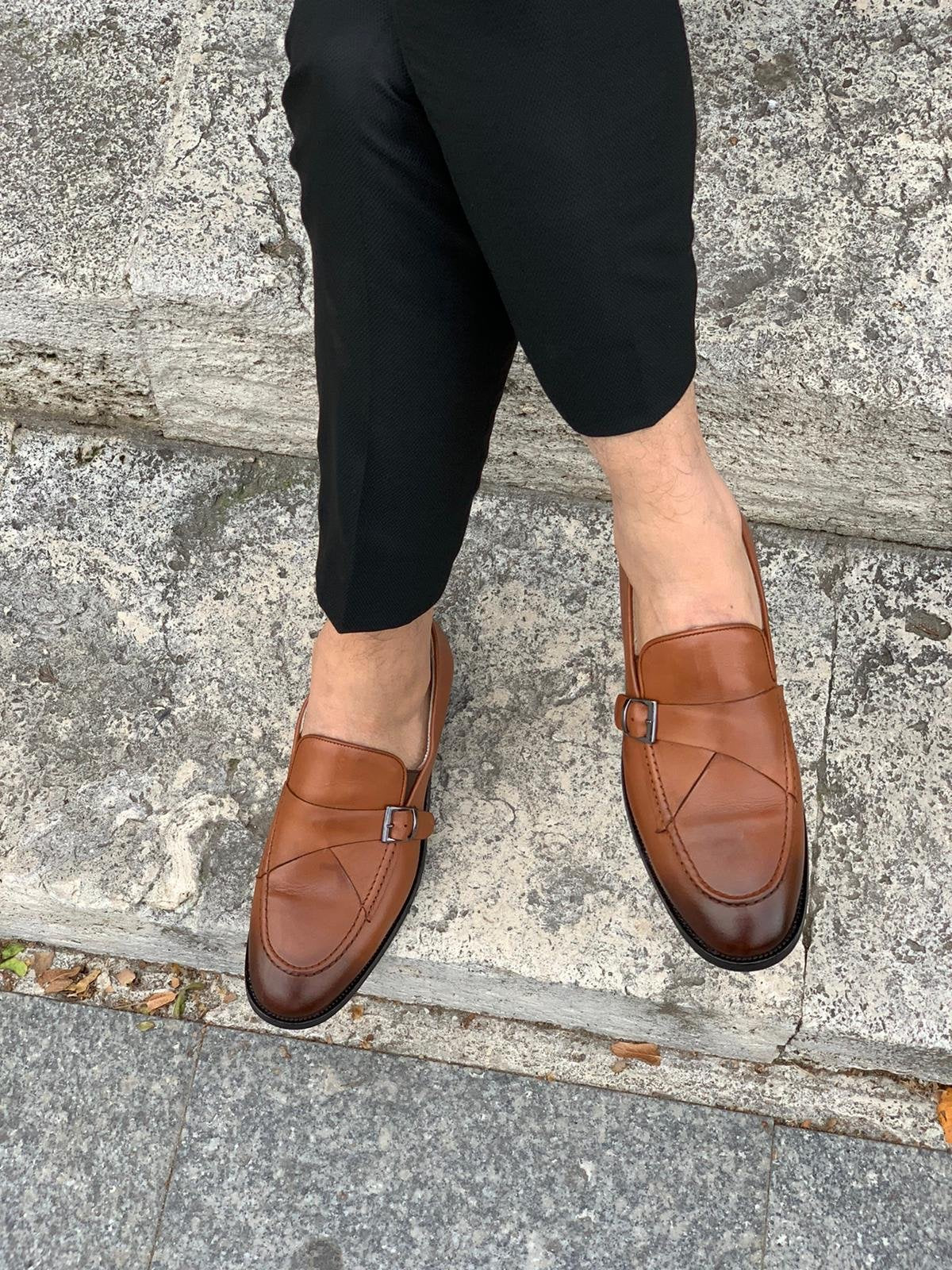 Stanoss Tan Buckle Shoes
