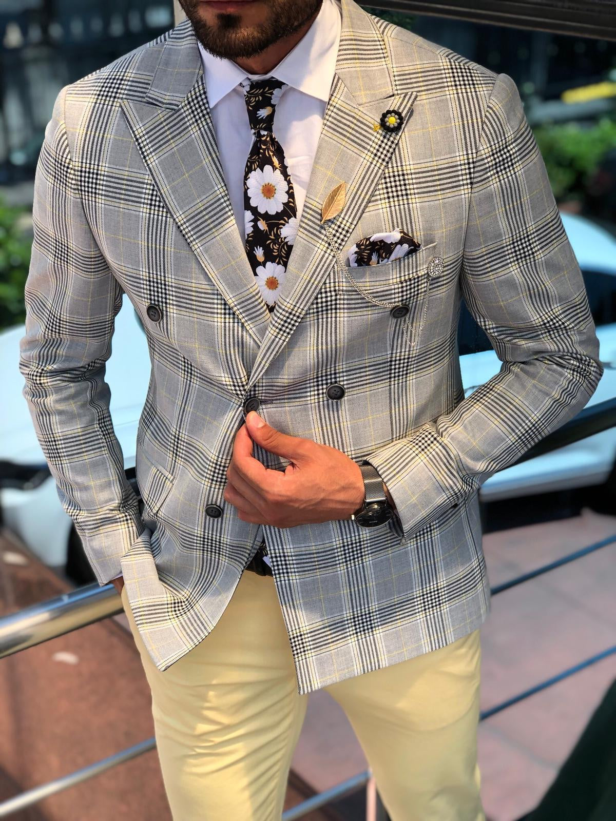 Double Breasted Plaid Gray & Yellow Blazer