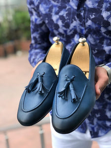 Blake Blue Comfy Leather Loafers
