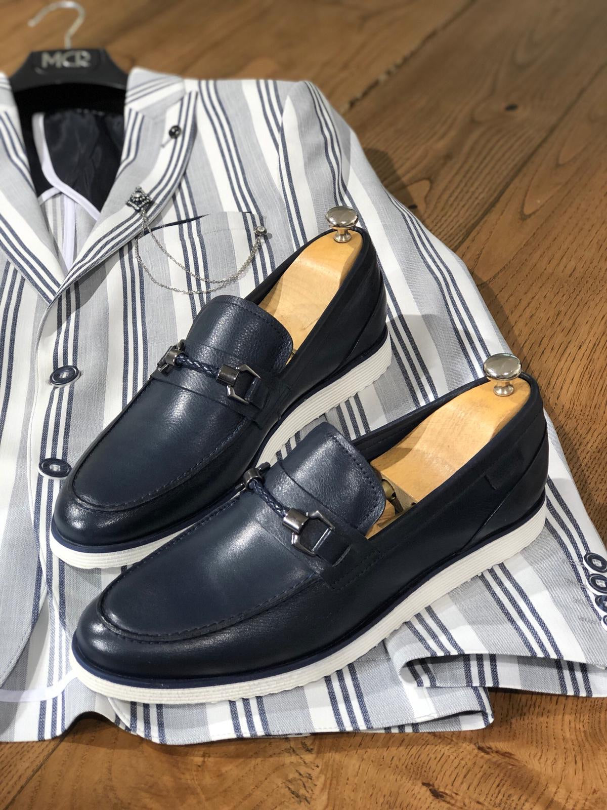 Heritage Buckle Detail Navy Loafer