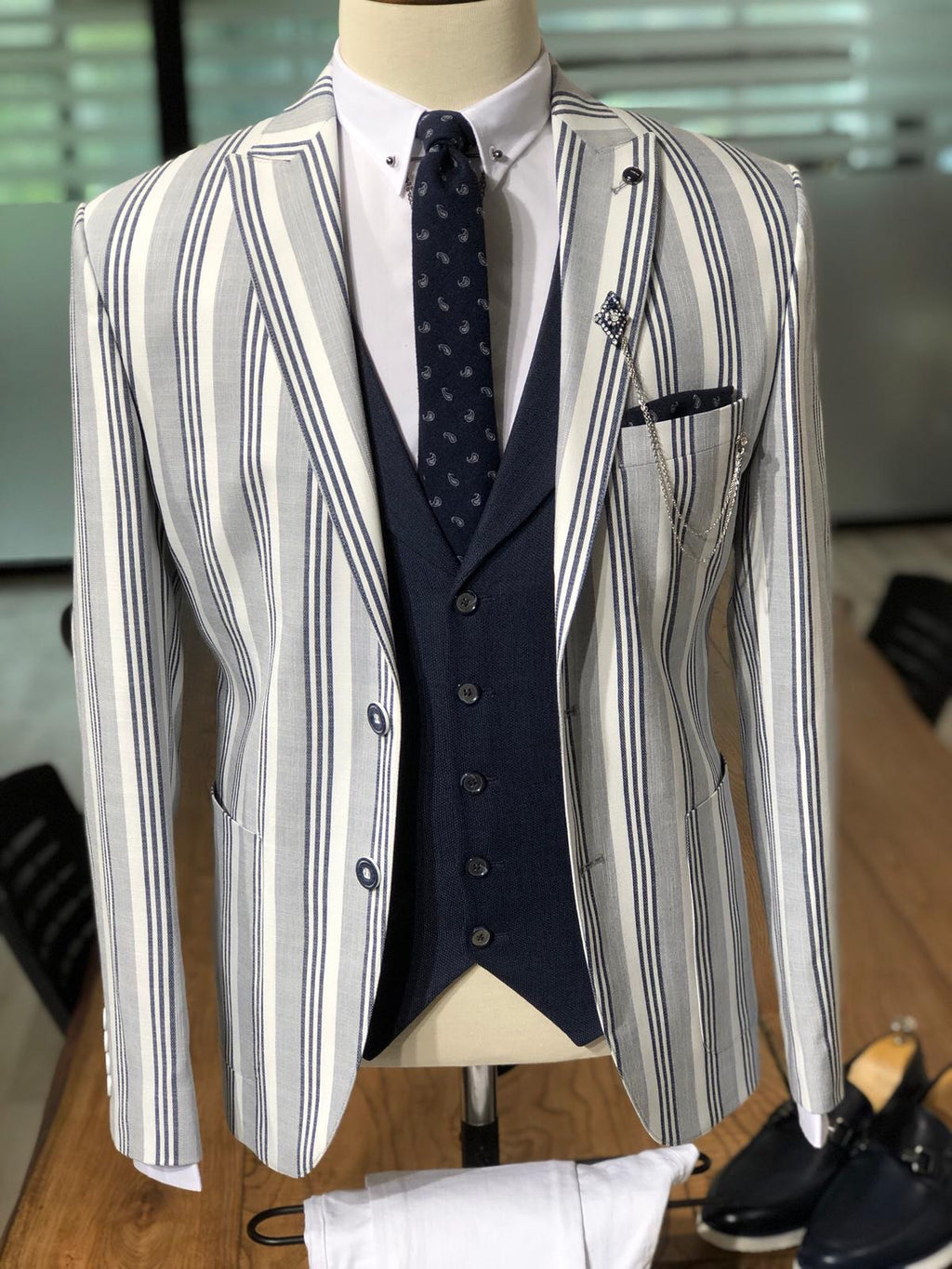 Infinite Gray Stripped Slim Blazer