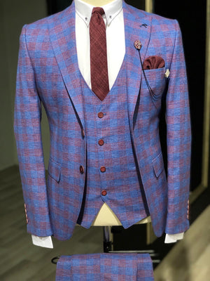 Kingston Sax Plaid Slim Fit Suit