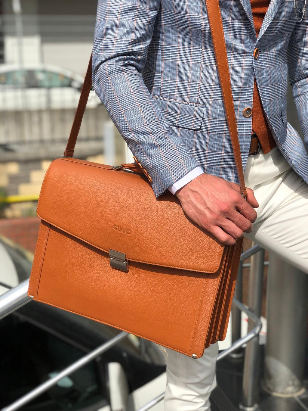 Premium Series Tan Leather Briefcase