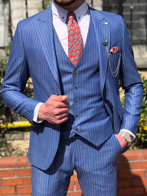 Bernard Blue Striped Slim Fit Suit