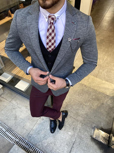 Forenzax Gray Slim Fit Suit
