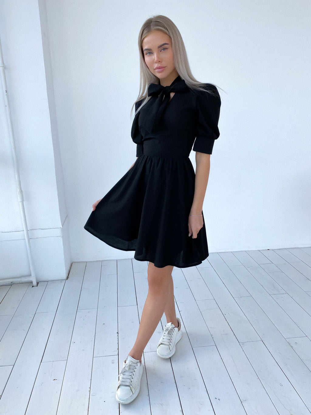 Black Linen Dress With Bow