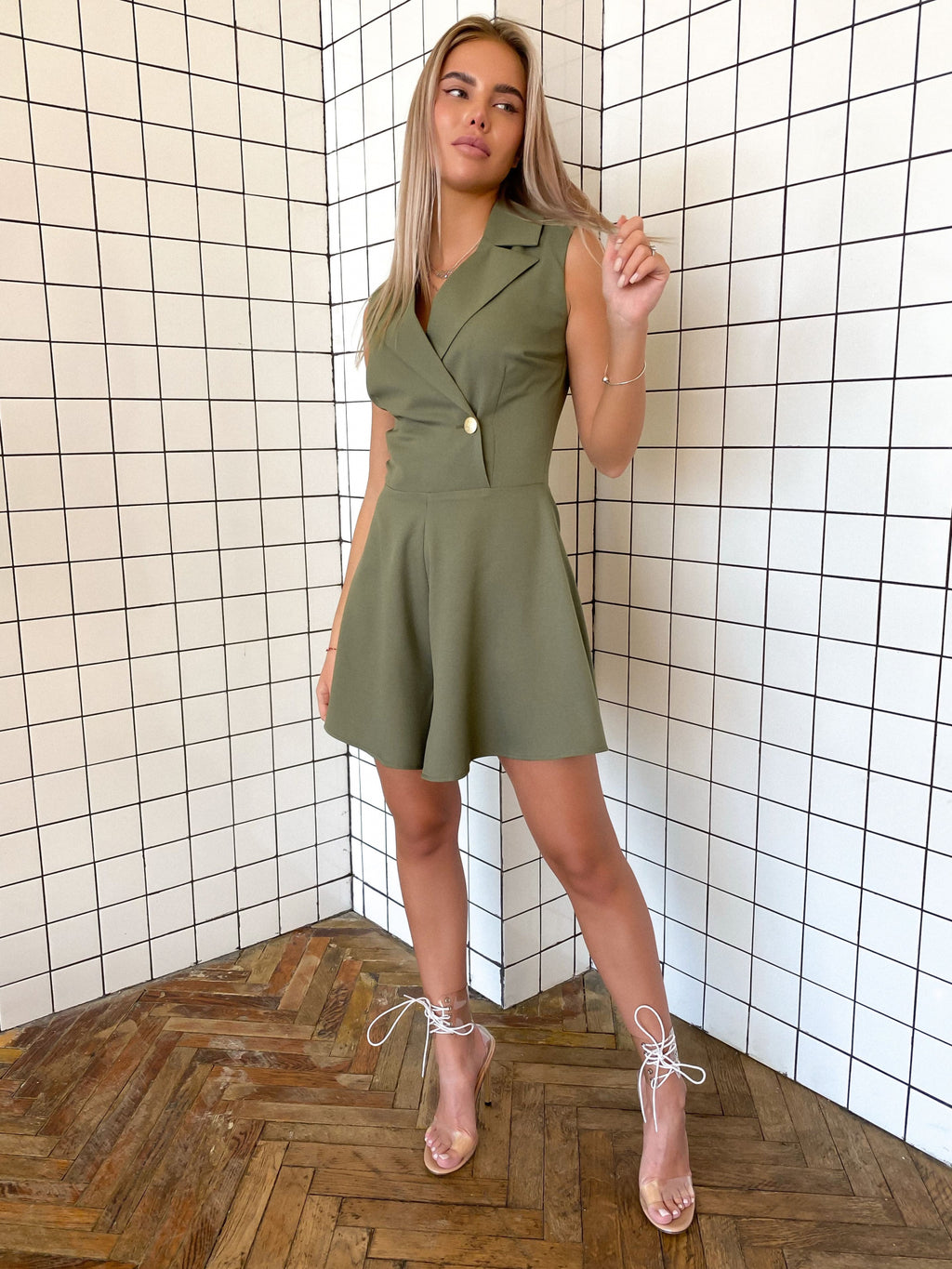 Green Crepe Playsuit