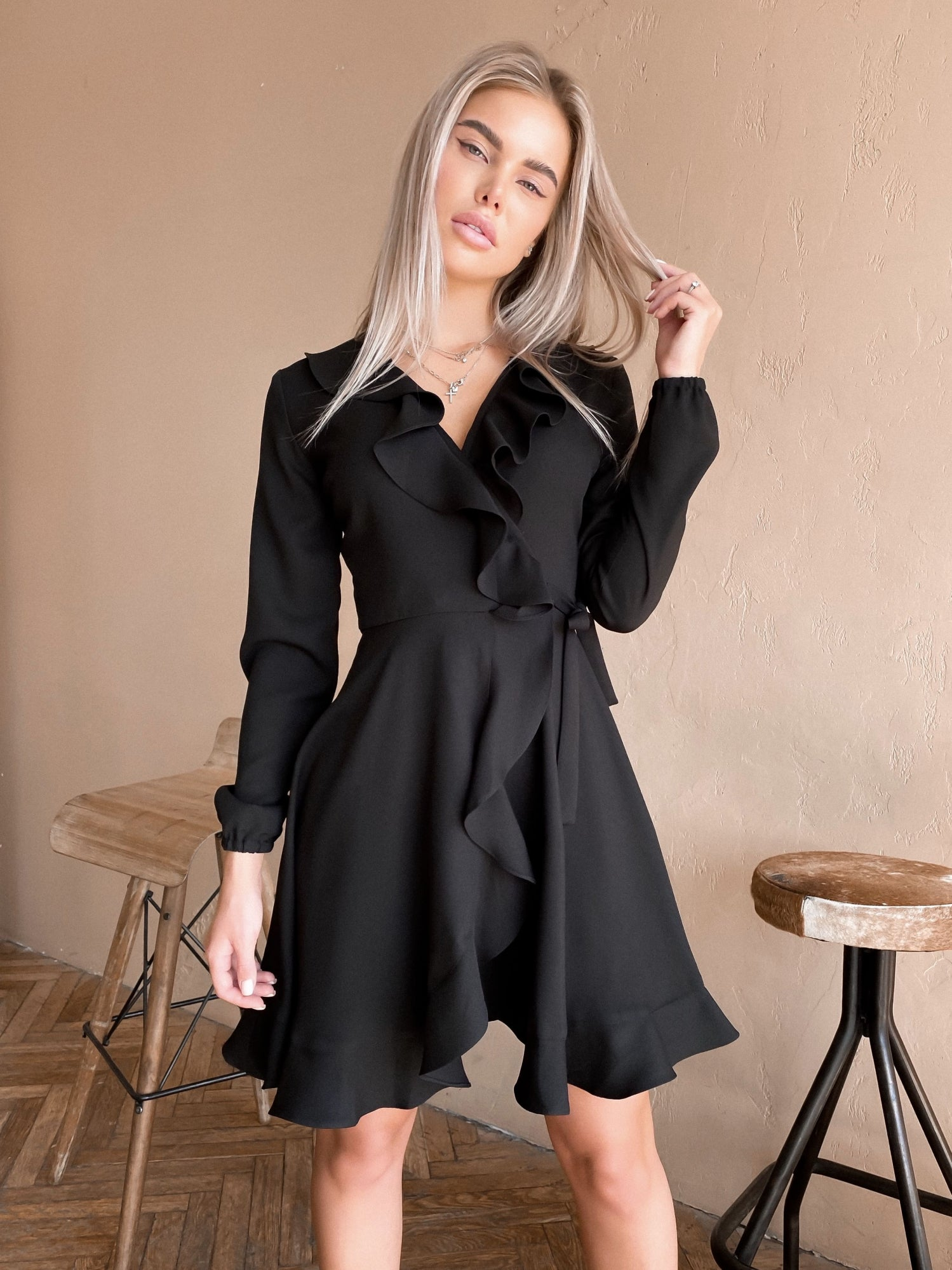 Black Crepe Wrap Dress With Ruches