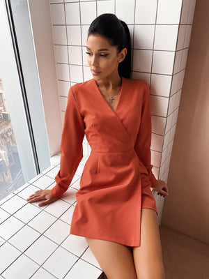 Coral Jumpsuit With Skirt Imitation