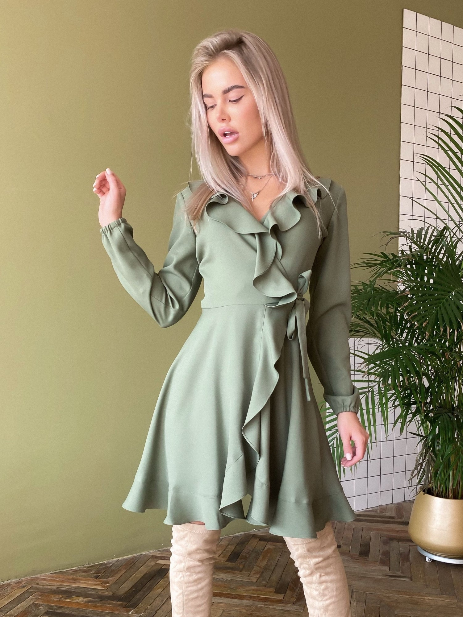 Khaki Crepe Wrap Dress With Ruches